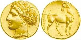 Золотая монета Статер-Карфагена. 260 г. до н. э.