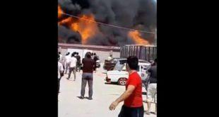 В Ташкенте рядом с оптовым рынком произошел пожар