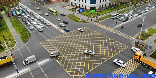 На дорогах Ташкента появилась «вафельная» разметка