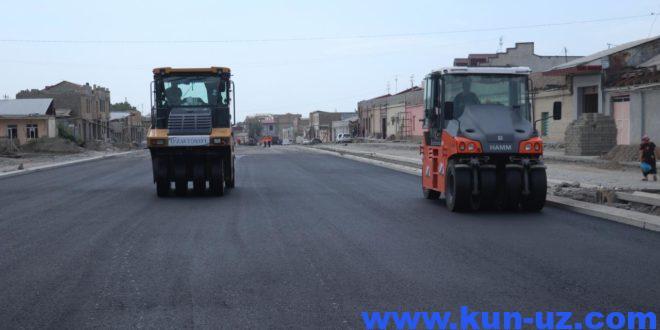 Samarqandda eni 42 metrli yul qurib bitkazilmoqda